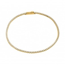 Sterling Silver Gold Plated Multiple Circle Clear Tennis Micro Pave CZ Bracelet - GMB00009GP