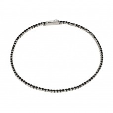 Sterling Silver Rhodium Plated Multiple Circle Black Tennis Micro Pave CZ Bracelet - GMB00009BLK