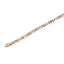 Sterling Silver Rose Gold Plated Multiple Circle Clear Tennis Micro Pave CZ Bracelet - GMB00010RGP