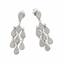 Wholesale Sterling Silver 925 Rhodium Plated Filigree CZ Chandelier Dangling Stud Earring - GME00002RH