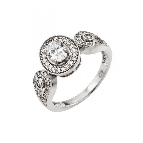 Wholesale Sterling Silver 925 Rhodium Plated Clear Micro Pave Set Round CZ Ring - GMR00002
