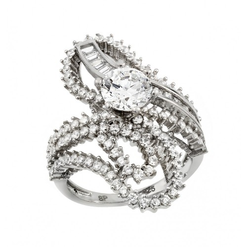 Wholesale Sterling Silver 925 Rhodium Plated Clear Baguette Round Center CZ Ornate Wrap Ring - GMR00003