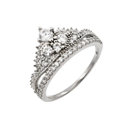 Wholesale Sterling Silver 925 Rhodium Plated Clear Round Pave Set CZ Tiara Ring - GMR00004