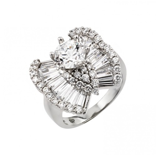 Wholesale Sterling Silver 925 Rhodium Plated Clear Baguette Round Pave Set CZ Butterfly Ring - GMR00005