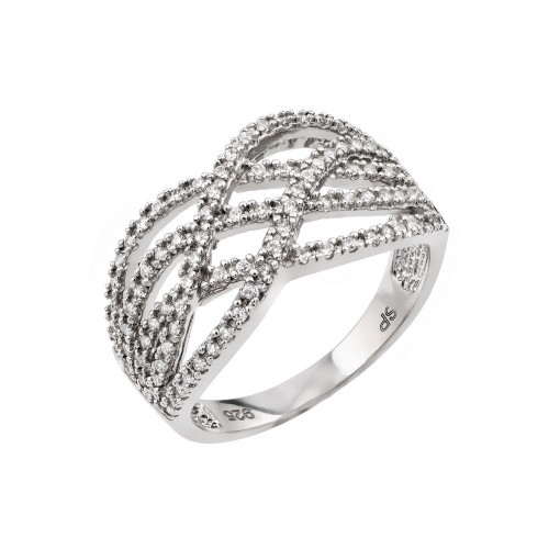 Wholesale Sterling Silver 925 Rhodium Plated Micro Pave Set Clear CZ Interlacing Knot Ring - GMR00006