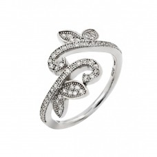 Sterling Silver Rhodium Plated Pave Set Clear CZ Leaf Vine Ring - GMR00007