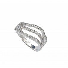 Sterling Silver Rhodium Plated Micro Pave Set Clear CZ Wave Ring - GMR00008