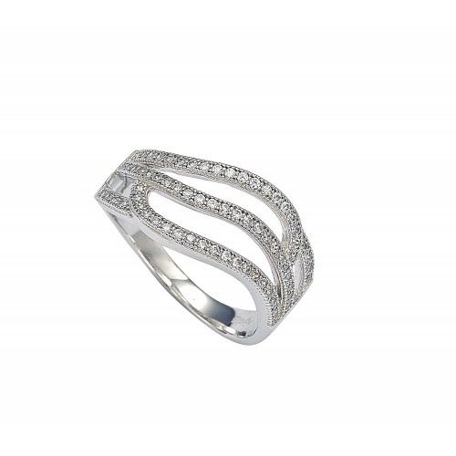 Wholesale Sterling Silver 925 Rhodium Plated Micro Pave Set Clear CZ Wave Ring - GMR00008
