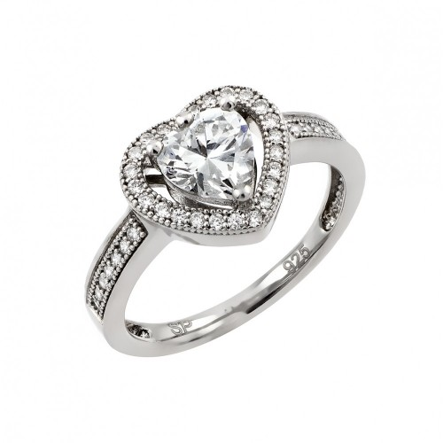 Wholesale Sterling Silver 925 Rhodium Plated Clear Micro Pave Set CZ Heart Ring - GMR00009