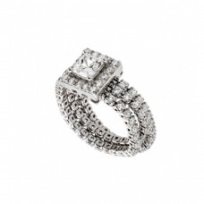 Sterling Silver Rhodium Plated Pave Set Clear CZ Flexible Square Ring - GMR00010