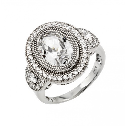 Wholesale Sterling Silver 925 Rhodium Plated Micro Pave Set CZ Antique Oval Ring - GMR00011