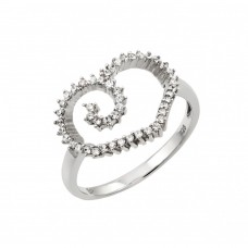 Sterling Silver Rhodium Plated CZ Open Heart Ring - GMR00012