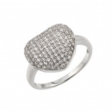 Sterling Silver Rhodium Plated Micro Pave Set CZ Heart Ring - GMR00019