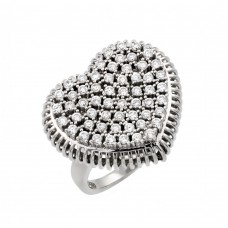 Sterling Silver Rhodium Plated Pave Set Clear CZ Heart Ring - GMR00021