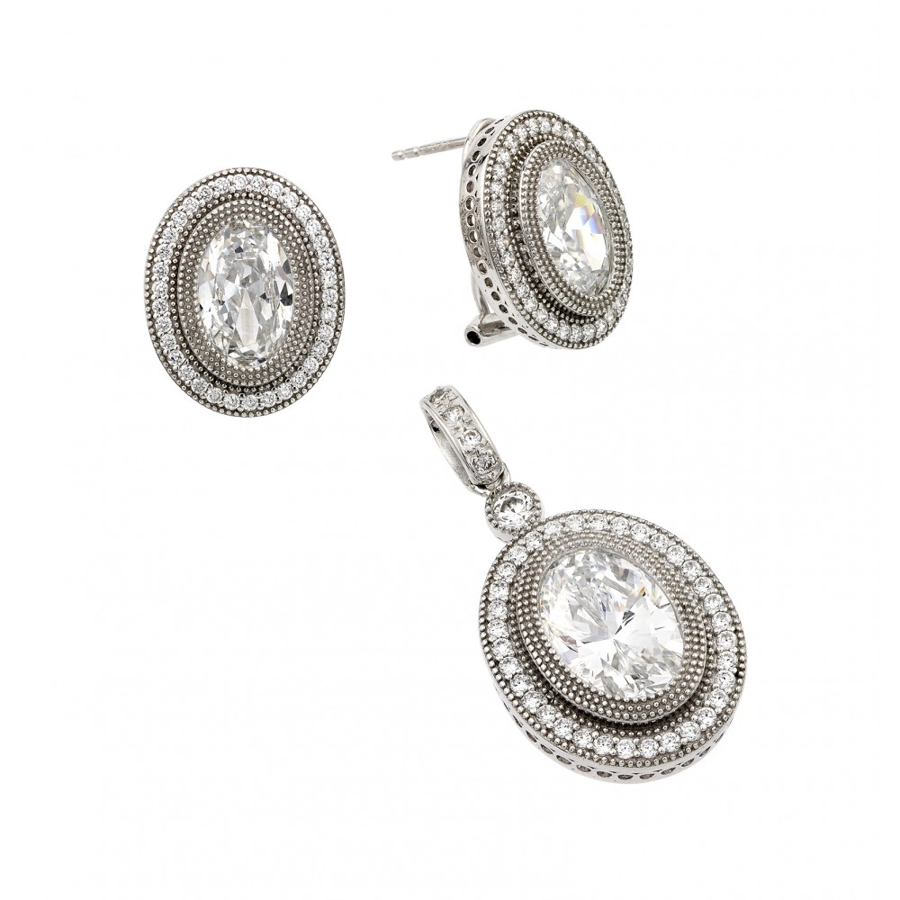 Wholesale Sterling Silver 925 Rhodium Plated Clear Micro Pave Oval CZ Stud Earring and Dangling Necklace Set - GMS00001RH