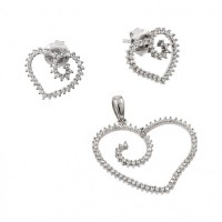 Wholesale Sterling Silver 925 Rhodium Plated Clear Open Heart CZ Stud Earring and Necklace Set - GMS00002RH
