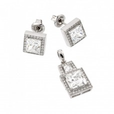 Wholesale Sterling Silver 925 Rhodium Plated Clear Square Micro Pave CZ Stud Earring and Dangling Necklace Set - GMS00004RH