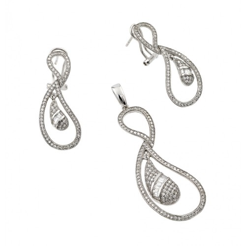 Wholesale Sterling Silver 925 Rhodium Plated Clear Open Loop Eggplant CZ Dangling Stud Earring and Necklace Set - GMS00005