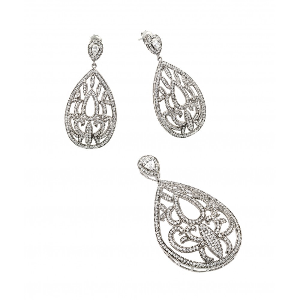Wholesale Sterling Silver 925 Rhodium Plated Clear Filigree Micro Pave CZ Dangling Stud Earring and Necklace Set - GMS00007RH