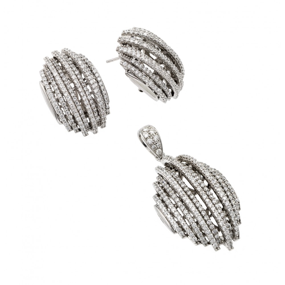Wholesale Sterling Silver 925 Rhodium Plated Clear Puffed Button CZ Stud Earring and Dangling Necklace Set - GMS00008RH