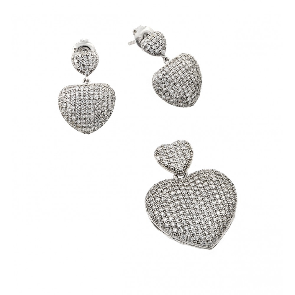 Wholesale Sterling Silver 925 Rhodium Plated Clear Micro Pave Heart CZ Dangling Stud Earring and Dangling Necklace Set - GMS00009RH
