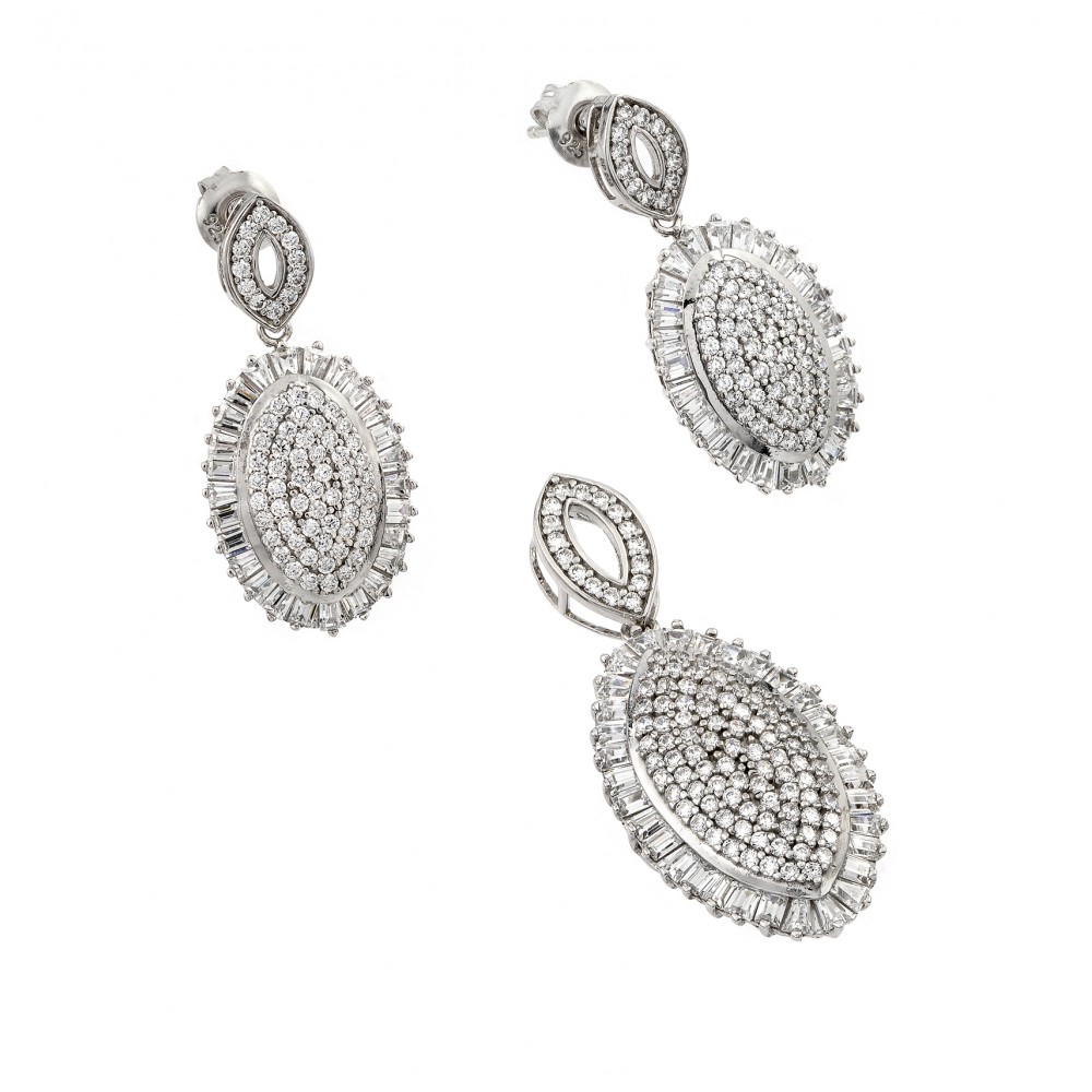 Wholesale Sterling Silver 925 Rhodium Plated Clear Micro Pave Oval CZ Dangling Stud Earring and Dangling Necklace Set - GMS00010