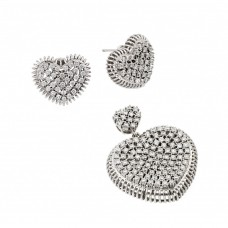 Wholesale Sterling Silver 925 Rhodium Plated Clear Micro Pave Heart CZ Stud Earring and Dangling Necklace Set - GMS00011
