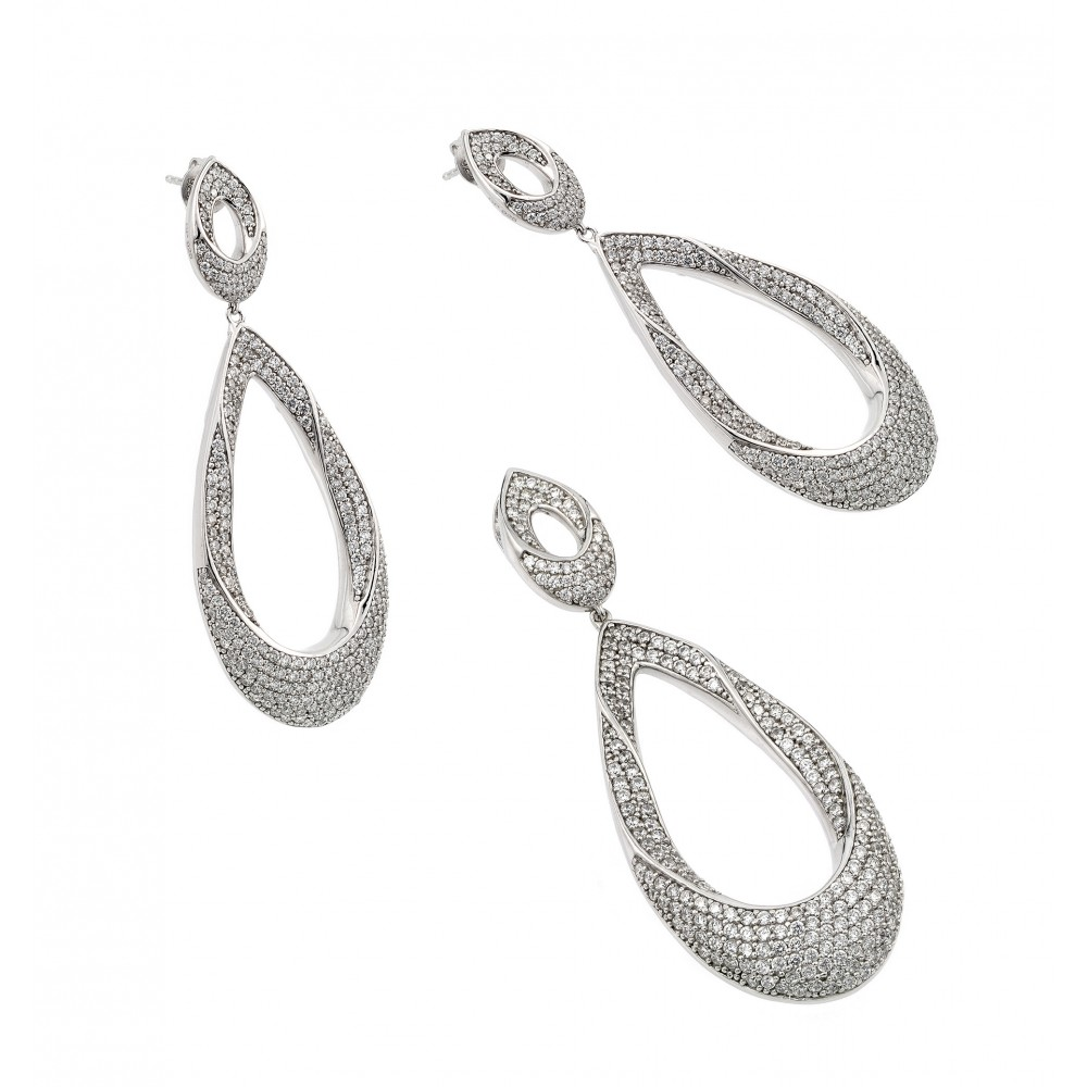 Wholesale Sterling Silver 925 Rhodium Plated Clear Open Micro Pave Teardrop CZ Dangling Stud Earring and Dangling Necklace Set - GMS00012