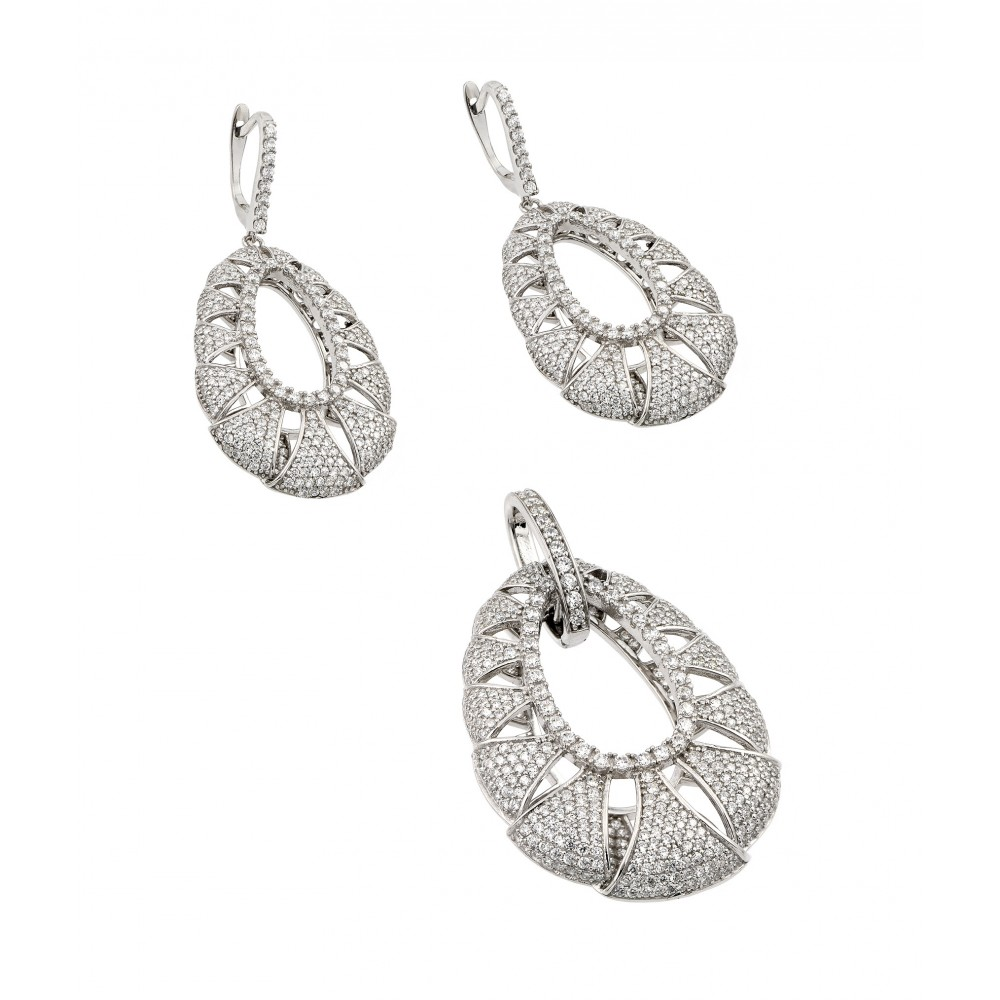 Wholesale Sterling Silver 925 Rhodium Plated Clear Micro Pave Open Puff Teardrop CZ Dangling Stud Earring and Dangling Necklace Set - GMS00013RH
