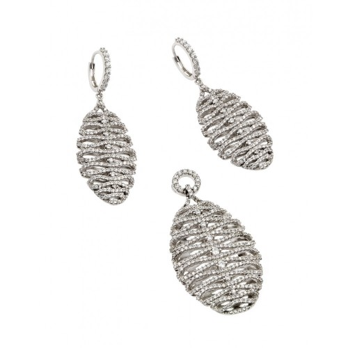 Wholesale Sterling Silver 925 Rhodium Plated Clear Micro Pave Skeletal Oval CZ Dangling Stud Earring and Dangling Necklace Set - GMS00014RH