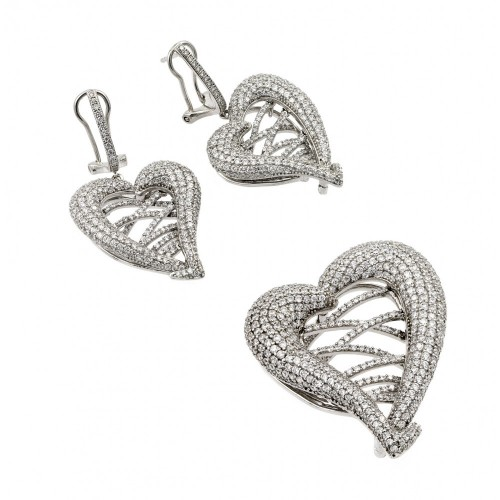 Wholesale Sterling Silver 925 Rhodium Plated Clear Micro Pave Open Heart CZ Dangling Stud Earring and Necklace Set - GMS00015RH