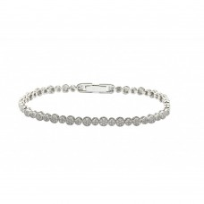 Wholesale Sterling Silver 925 Rhodium Plated Multiple Round Clear CZ Bracelet - GMB00002