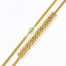 Stainless Steel Gold Plated Double Link Curb Chain - SSC034GP