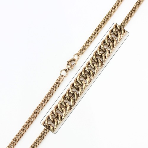 Wholesale Stainless Steel Rose Gold Plated Double Link Curb Chain - SSC034RGP