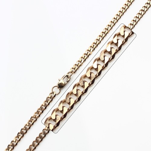 Wholesale Stainless Steel Rose Gold Plated High Polish Link Curb Chain - SSC037RGP