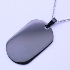 Wholesale Stainless Steel Black Rhodium Plated Dog Tag Pendant - SSP00466