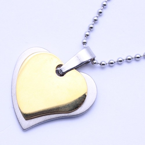 Wholesale Stainless Steel Gold Plated Two Tone Heart Pendant - SSP00468