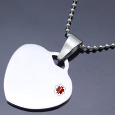 Wholesale Stainless Steel Brushed Heart Medical ID Charm Pendant - SSP00472