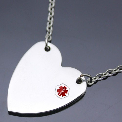 Wholesale Stainless Steel Brushed Heart Medical ID Charm Black Cord Necklace - SSP00473