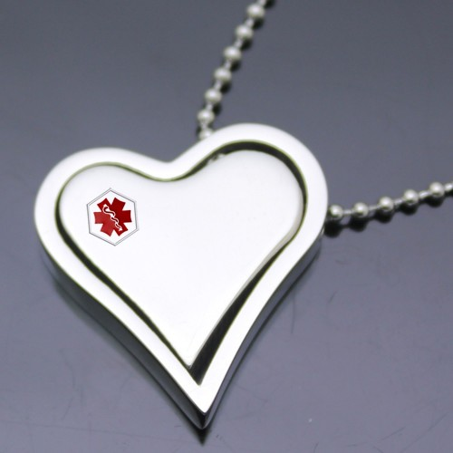 Wholesale Stainless Steel Two Piece Heart Medical ID Charm Pendant - SSP00474