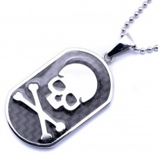 Wholesale Stainless Steel Skull Crossbone Dog Tag Charm Pendant - SSP00427