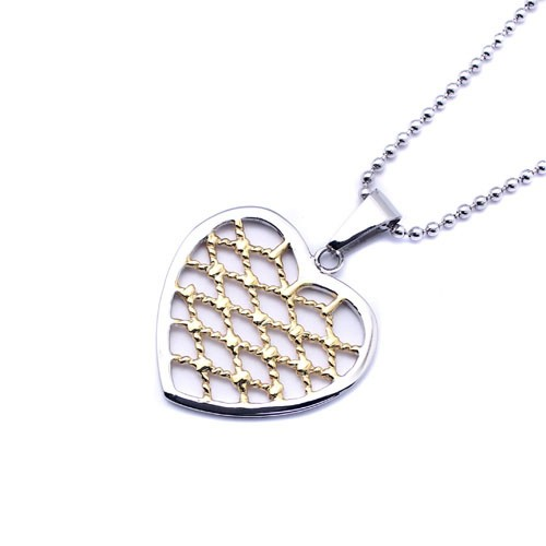 Wholesale Stainless Steel Two Tone Weave Heart - SSP00445