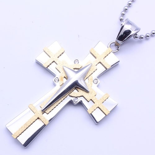 Wholesale Stainless Steel Gold Plated Two Tone Cross Clear Crystal Charm Pendant - SSP00483