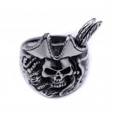 Wholesale Men's Stainless Steel Pirate Skull Ring - SRN043