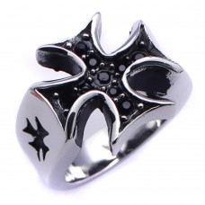 Wholesale Men's Stainless Steel Black Rhodium Plated Cross Black Crystal Ring - SRN046