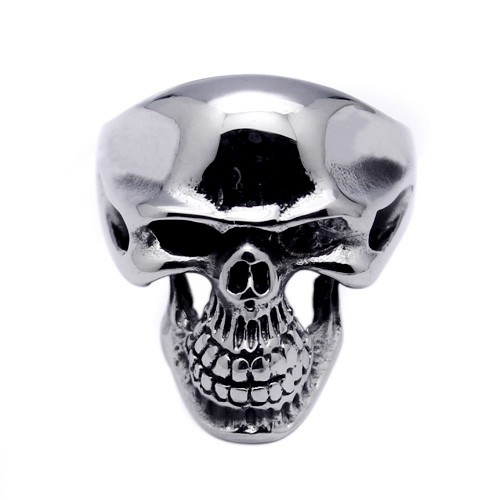 Wholesale Men's Stainless Steel Large Skull Ring - SRN052