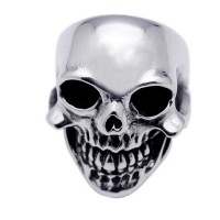 Wholesale Men's Stainless Steel Large Skull and Teeth Rows Ring - SRN053