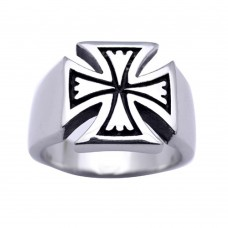 Wholesale Men's Stainless Steel Cross Ring - SRN061