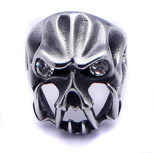 Wholesale Men's Stainless Steel Monster Skull Crystal  Eyes Ring - SRN062
