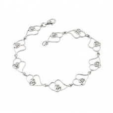 Wholesale Sterling Silver 925 Rhodium Plated Open Multi Heart Clear CZ Tennis Bracelet - STB00483